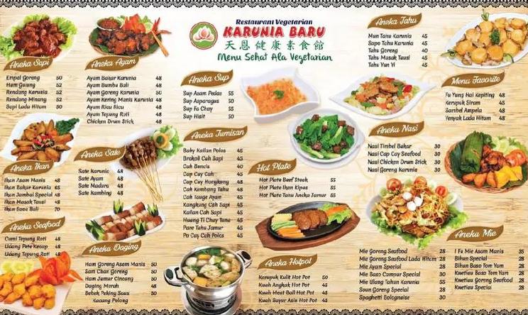 Restoran Vegetarian di Bogor menu